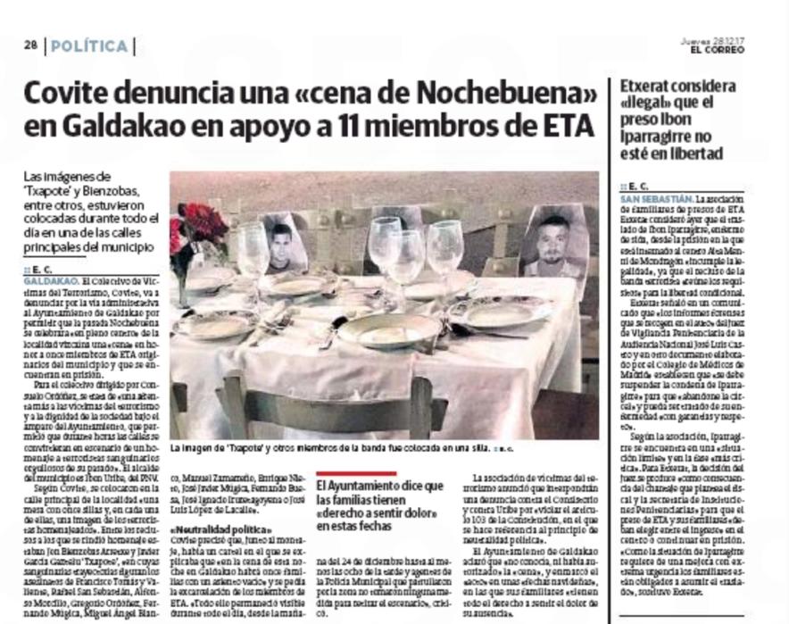 La denuncia de COVITE en El Correo.