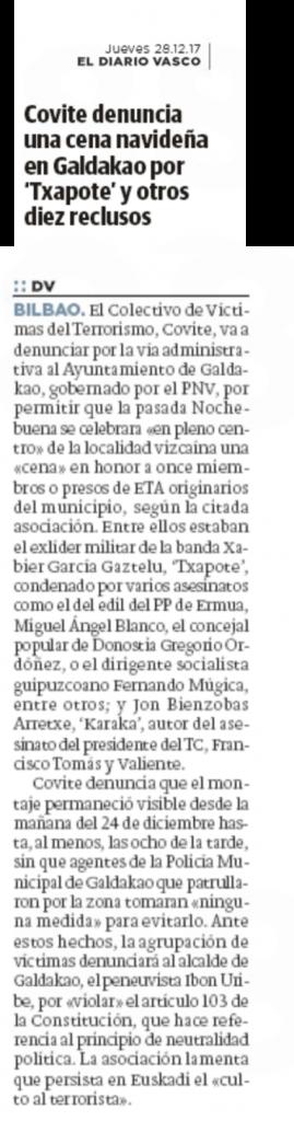 La denuncia de COVITE en El Diario Vasco.